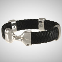 "Silver and Braided Black Leather 1/2""  (13mm) Bracelet"