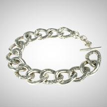 ndu Silver Flat Link Motif Bracelet
