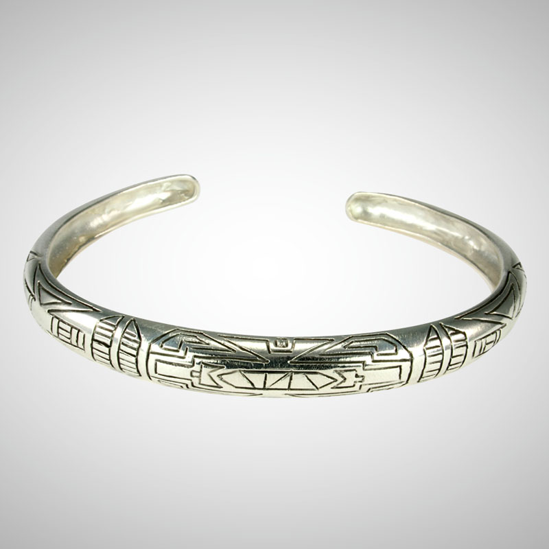 ndu Silver Men's Motif Bangle