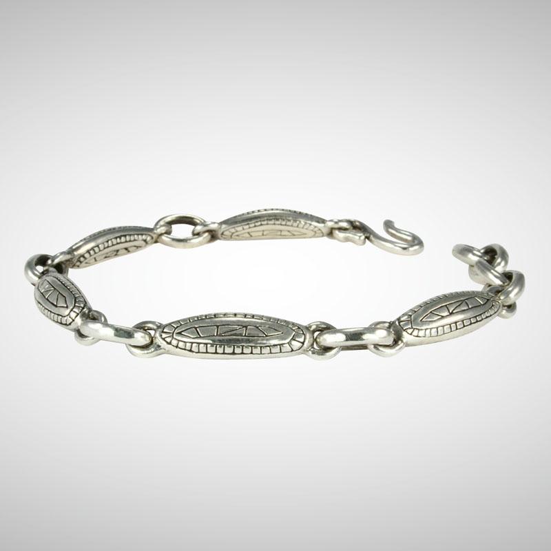 ndu Silver Lozenge Link Motif Bracelet