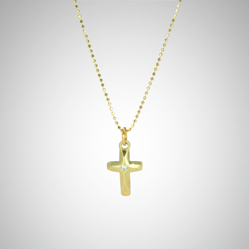Small Yellow Gold Arched Cross with White Diamond