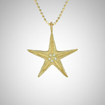 Medium Yellow Gold Starfish with White Diamonds
