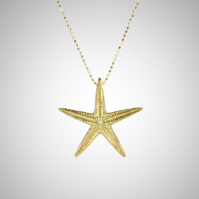 Large Yellow Gold Starfish with White Diamonds