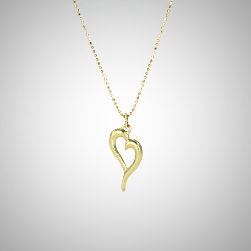 Medium Yellow Gold Curve Heart