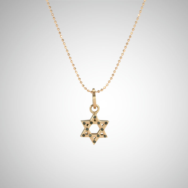 Small Rose Gold Jewish Star with Black Diamonds
