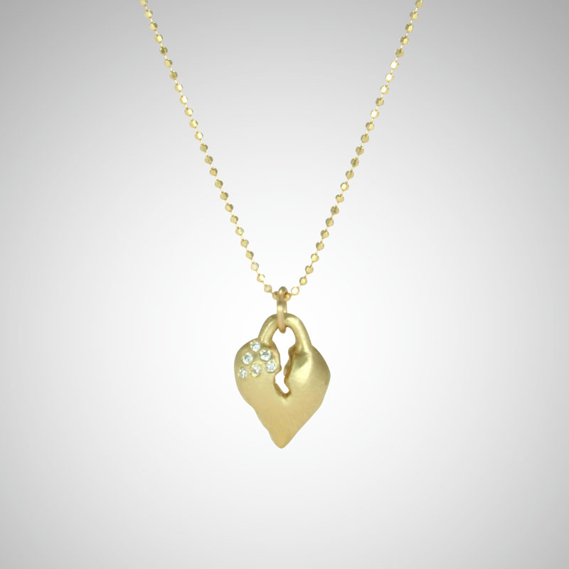 Small Yellow Gold Signature Heart with White Diamonds