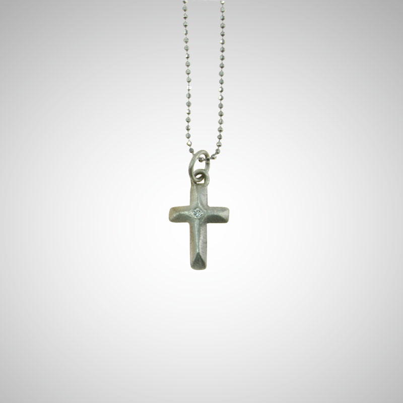 Small Silver Arched Cross with White Diamond