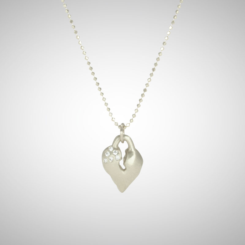 Small Silver Signature Heart with White Diamonds