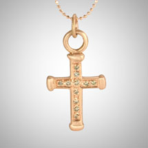 Medium Rose Gold Holy Cross with Cognac Diamonds