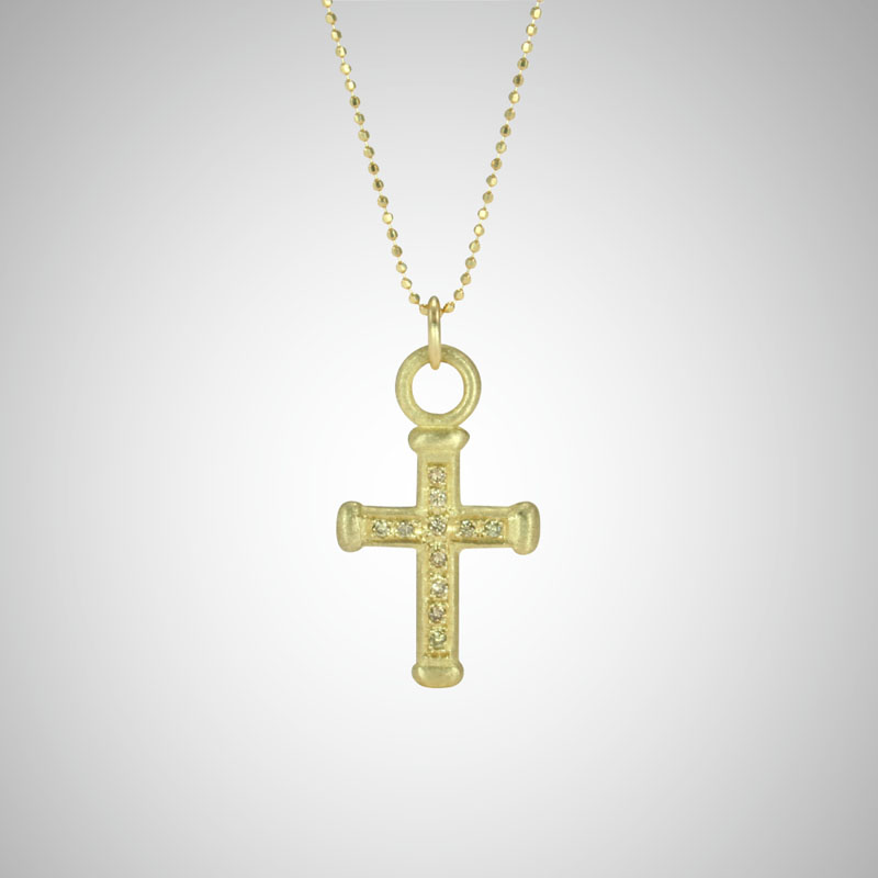 Medium Yellow Gold Holy Cross with Cognac Diamonds