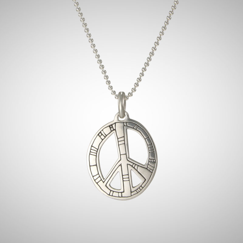 Large Silver Ndu Peace Sign