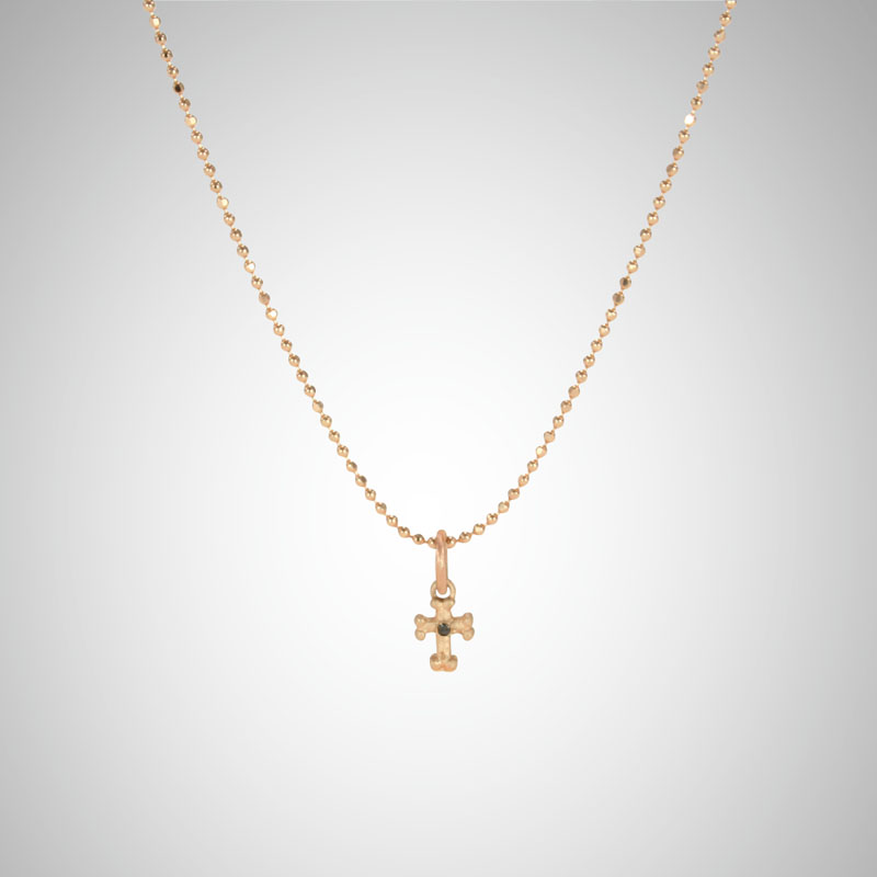Tiny Rose Gold Goth Cross with Black Diamond