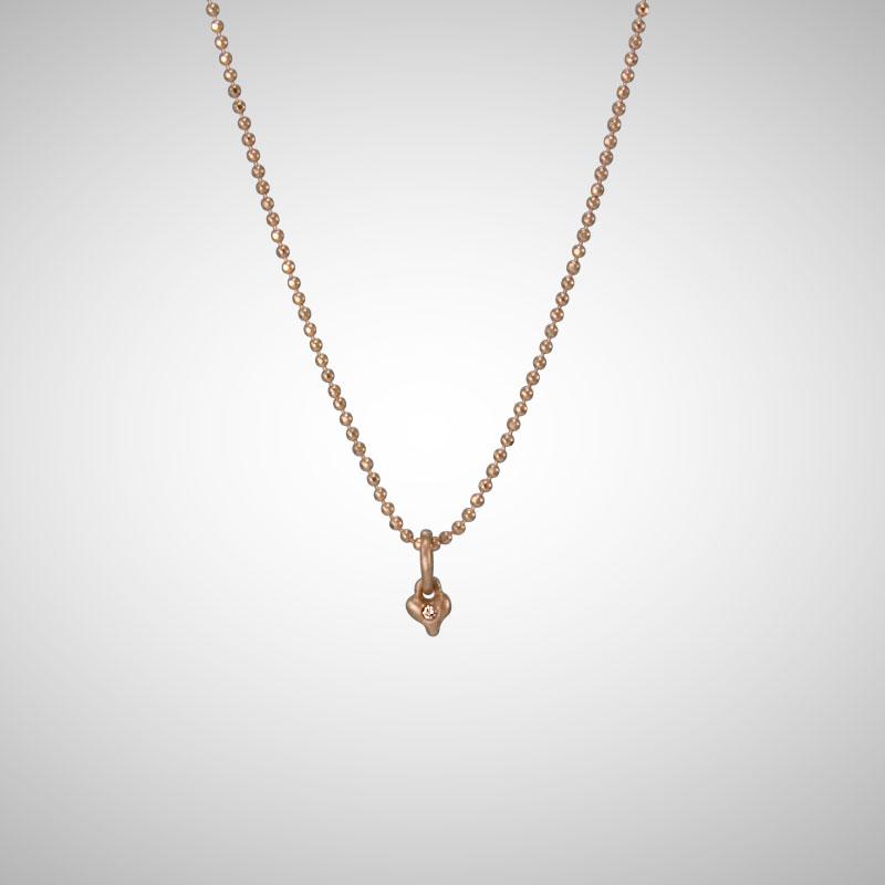 Tiny Rose Gold Signature Heart with Cognac Diamond