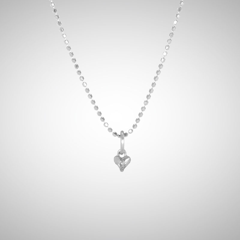 Tiny Silver Signature Heart with White Diamond