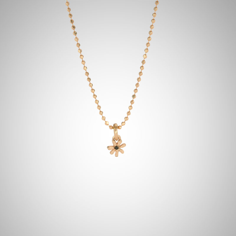 Tiny Rose Gold Flower with Black Diamond