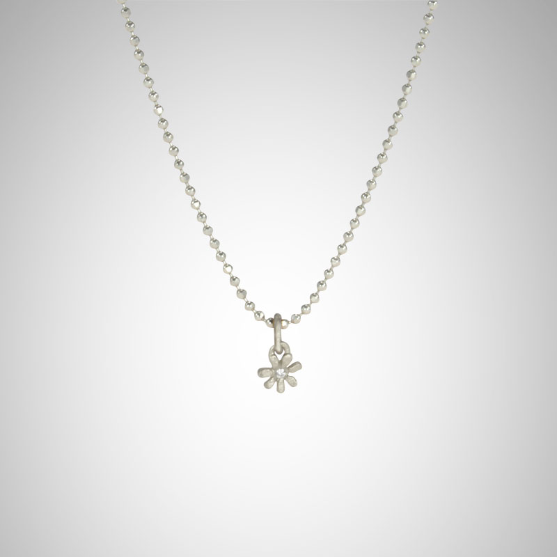Tiny Silver Flower with White Diamond