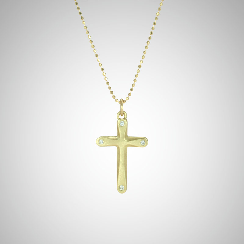 Medium Yellow Gold Curve Cross with White Diamonds