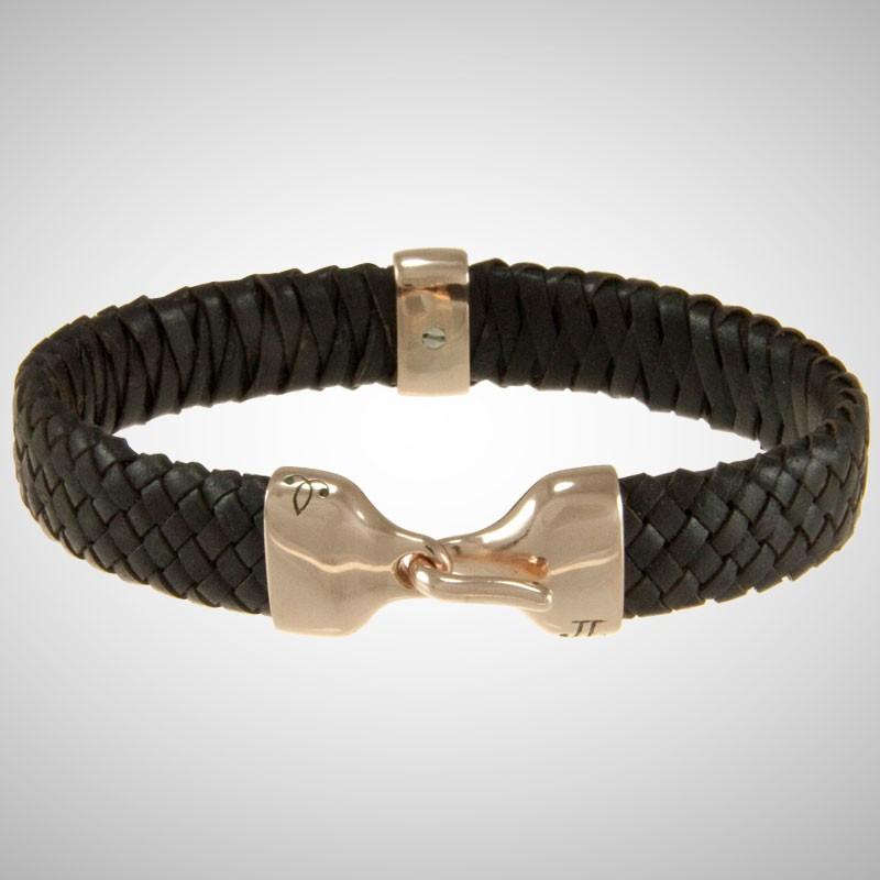 Custom Rose Gold & Braided Brown Leather Bracelet