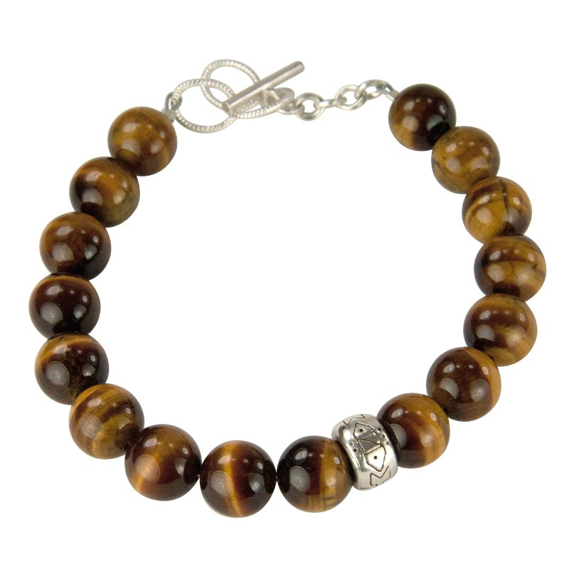 Round Tigers Eye Bead with Tribal Motif ndu Donut Adjustable Bracelet