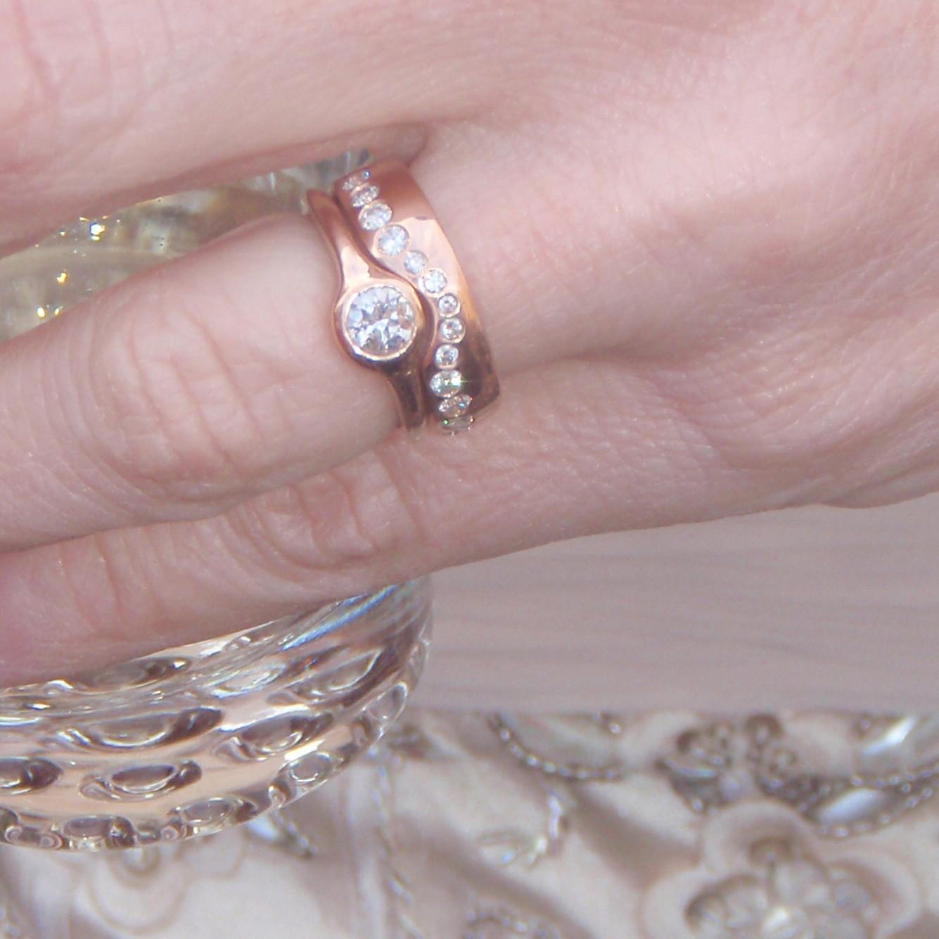 Custom Wedding Set in Rose Gold with Heirloom Diamonds