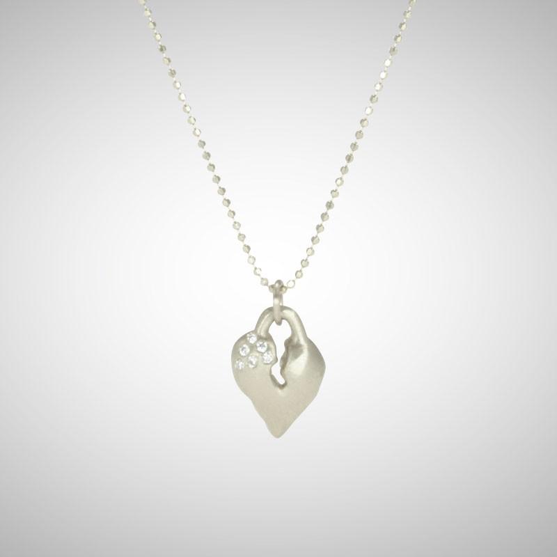Small Silver Signature Heart with White Diamonds