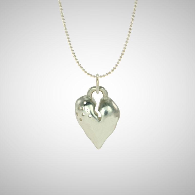Medium Silver Signature Heart
