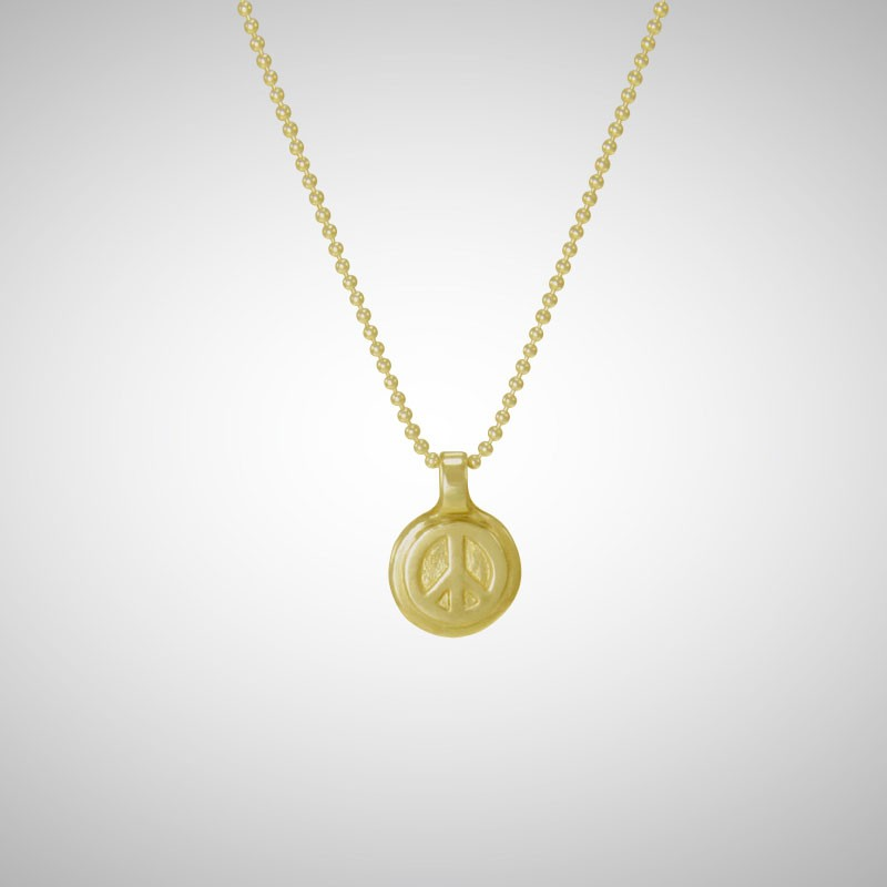 Small Yellow Gold Peace Tag