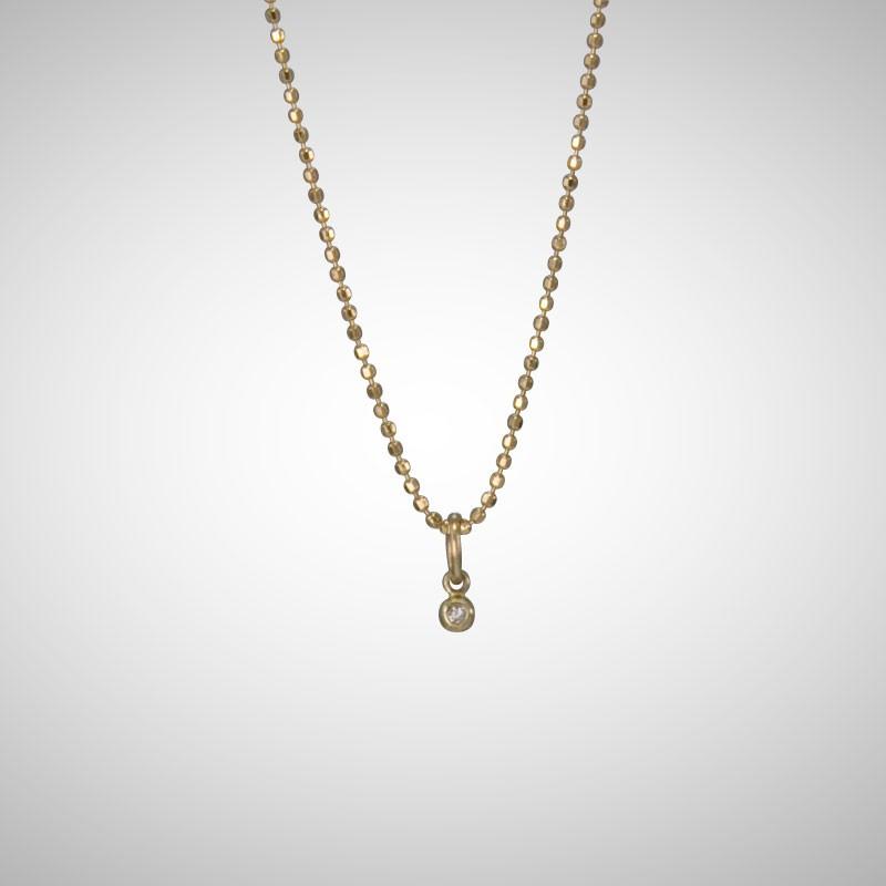 Tiny Yellow Gold Drop with White Diamond