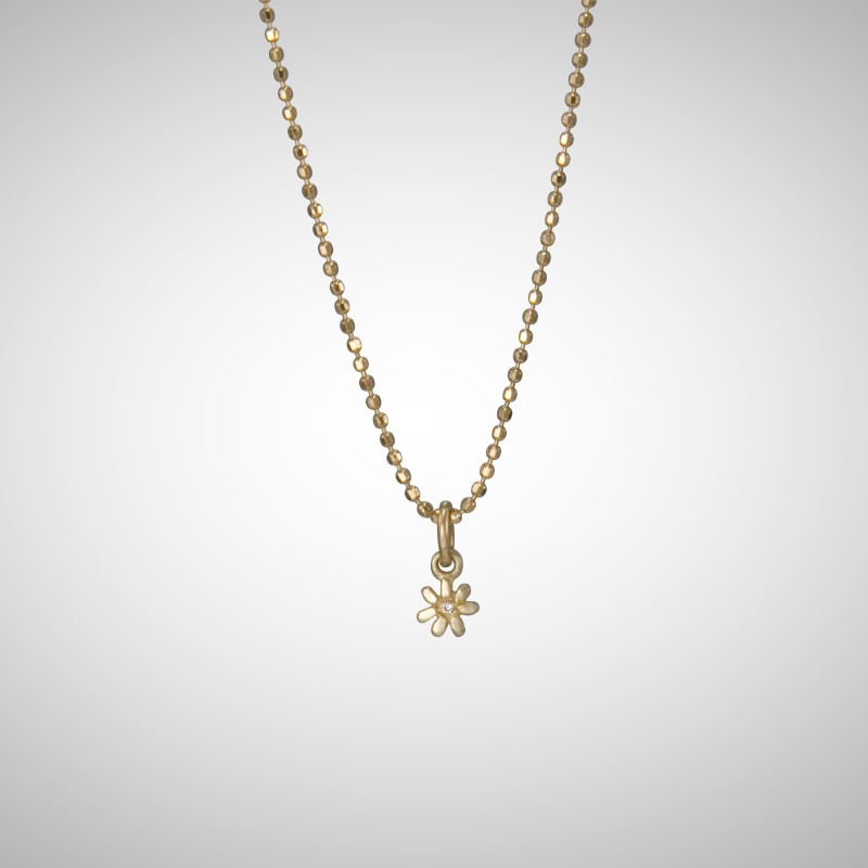 Tiny Yellow Gold Flower with White Diamond