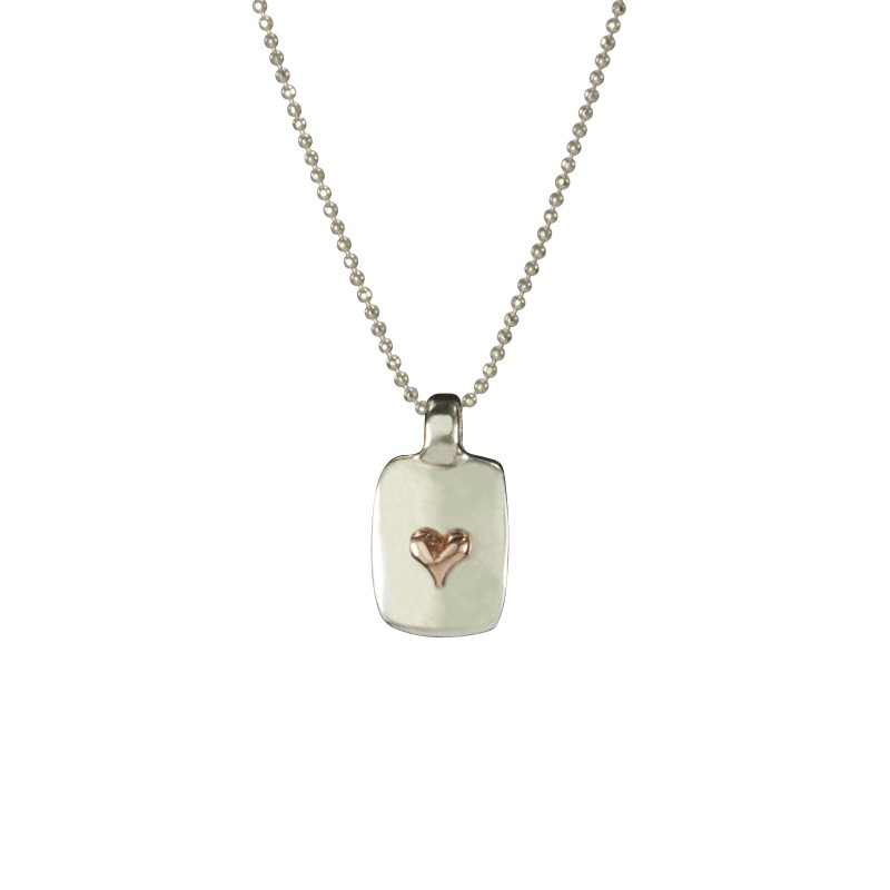 Small Silver Dog Tag with Rose Gold Tiny Heart