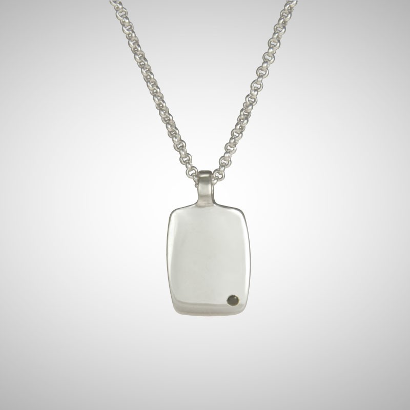 No 4 Silver Dog Tag with 1 Black Diamond