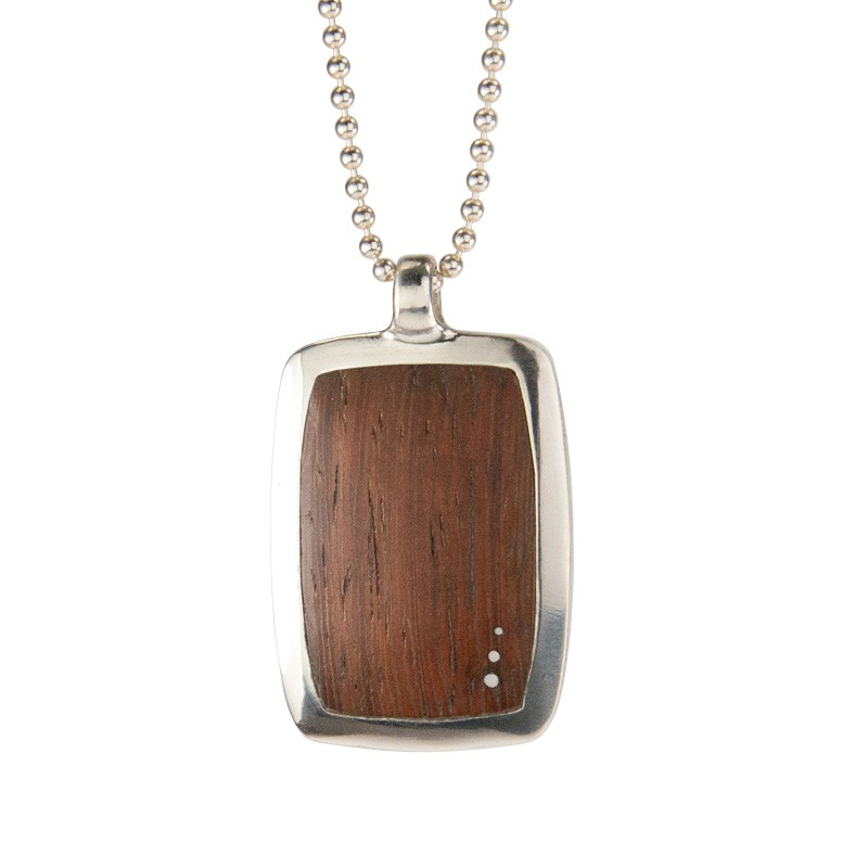 Reclaimed Wood Large Dog Tag in Machiche with 3 Inlaid Silver Dots in Silver Setting