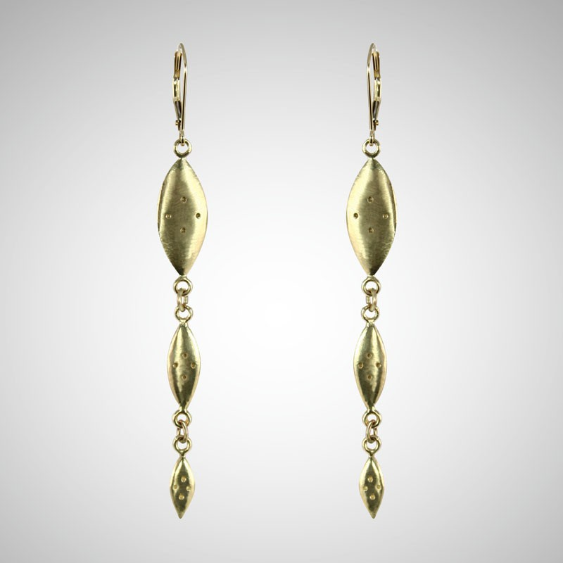 Yellow Gold Triple Shield Drop Earrings