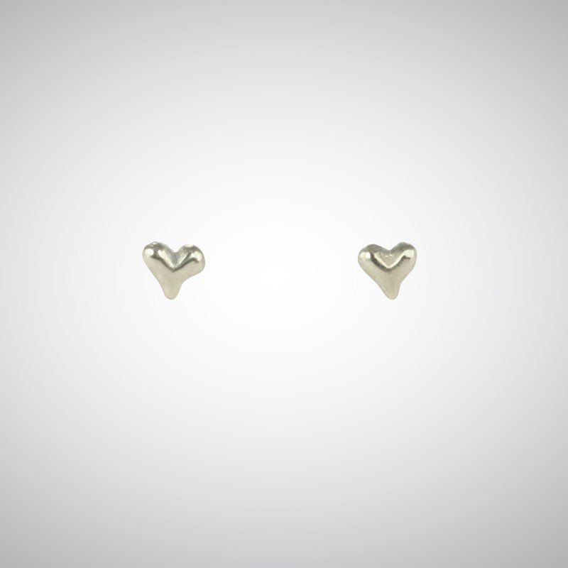 Tiny Silver Heart Post Earrings
