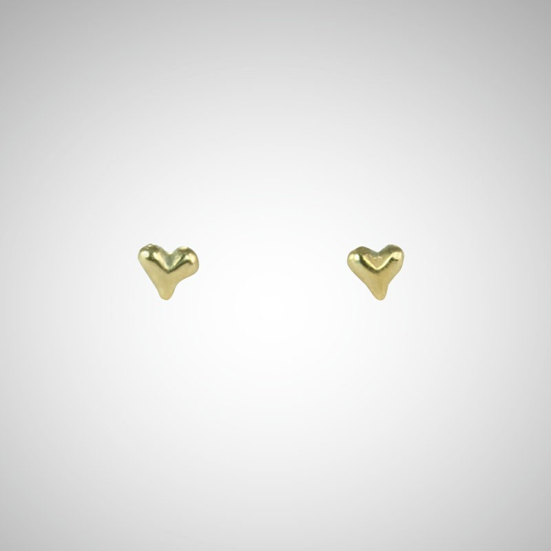 Tiny Yellow Gold Heart Post Earrings