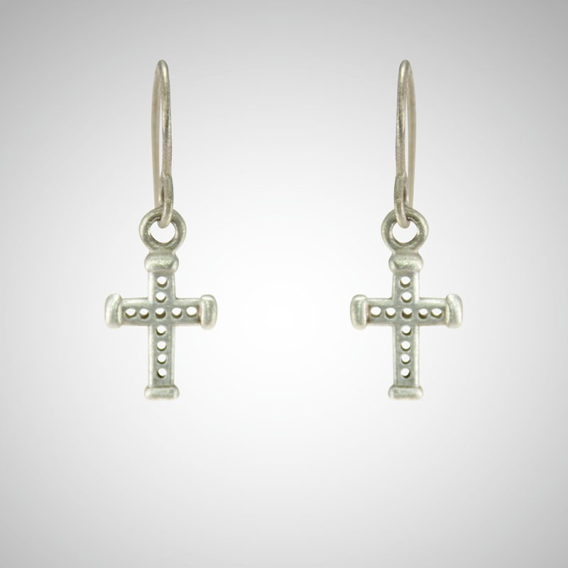 Silver Holy Cross Drop Earrings