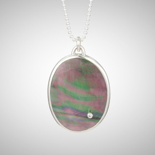 Black Oval Mother of Pearl Pendant with White Diamond Drop