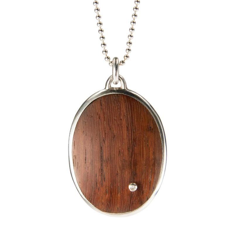 Reclaimed Wood Oval Pendant in Deep Red Machiche with White Diamond Drop