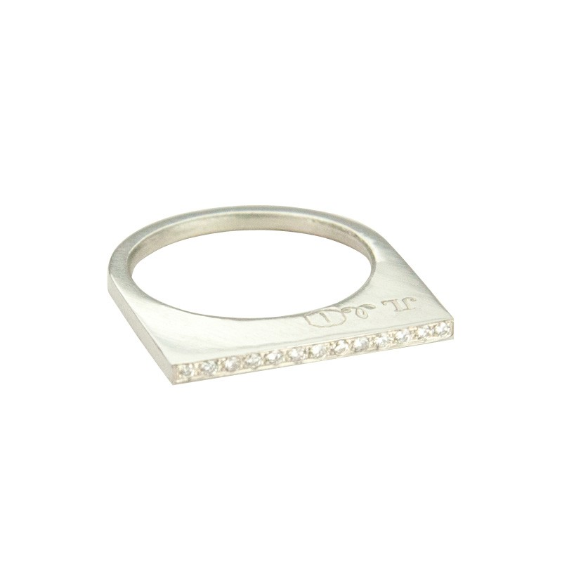 Super Flat Skinny Silver Ring with 13 White Diamonds