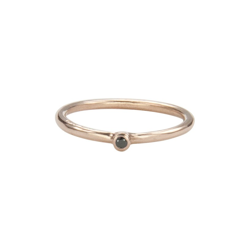 Super Skinny Rose Gold Ring with a Black Diamond