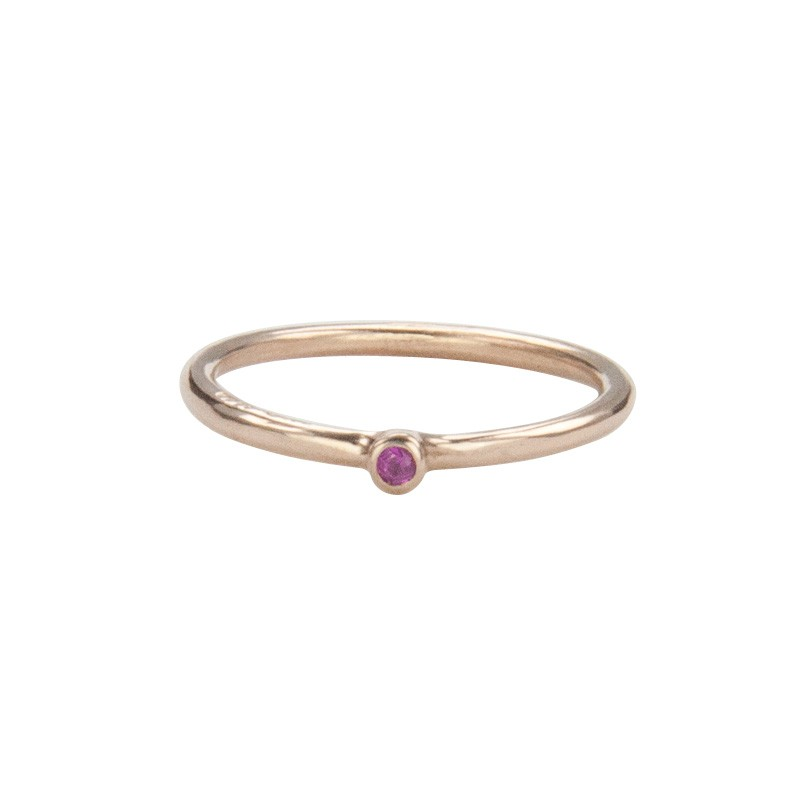 Super Skinny Rose Gold Ring with a Pink Sapphire