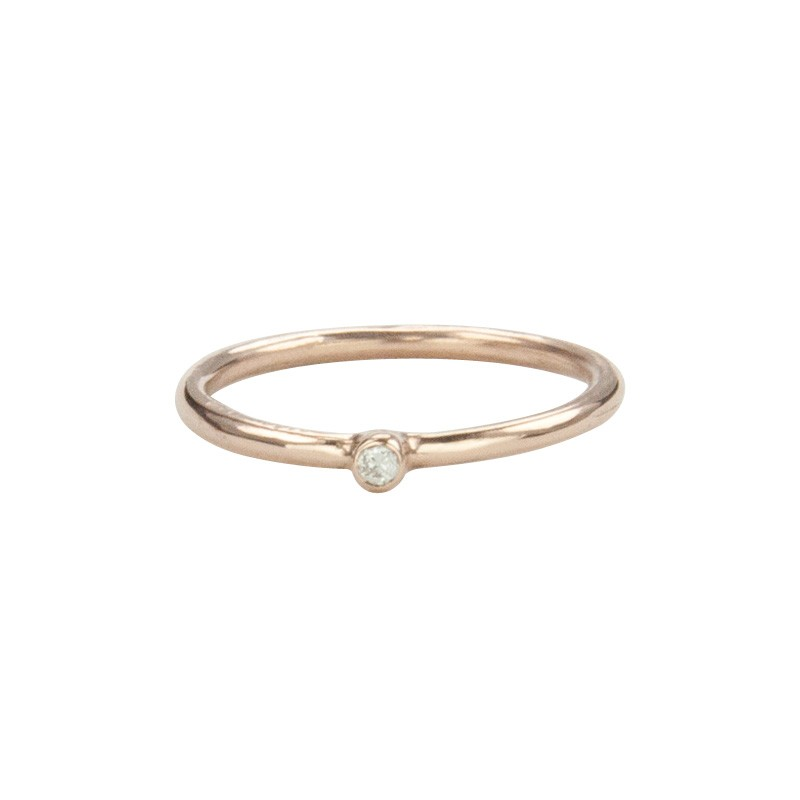 Super Skinny Rose Gold Ring with a White Diamond