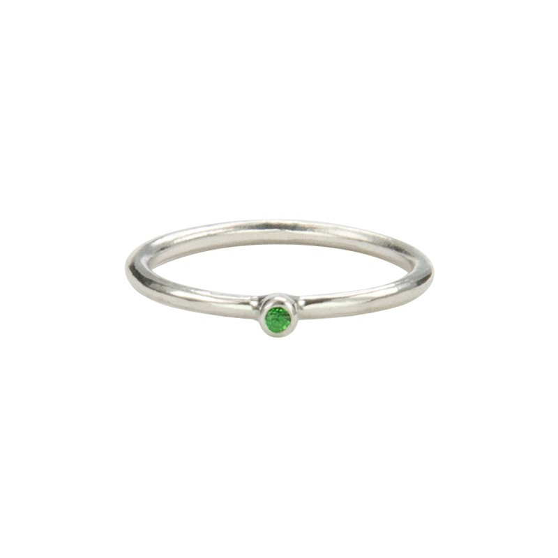 Super Skinny Silver Ring with a Tsavorite