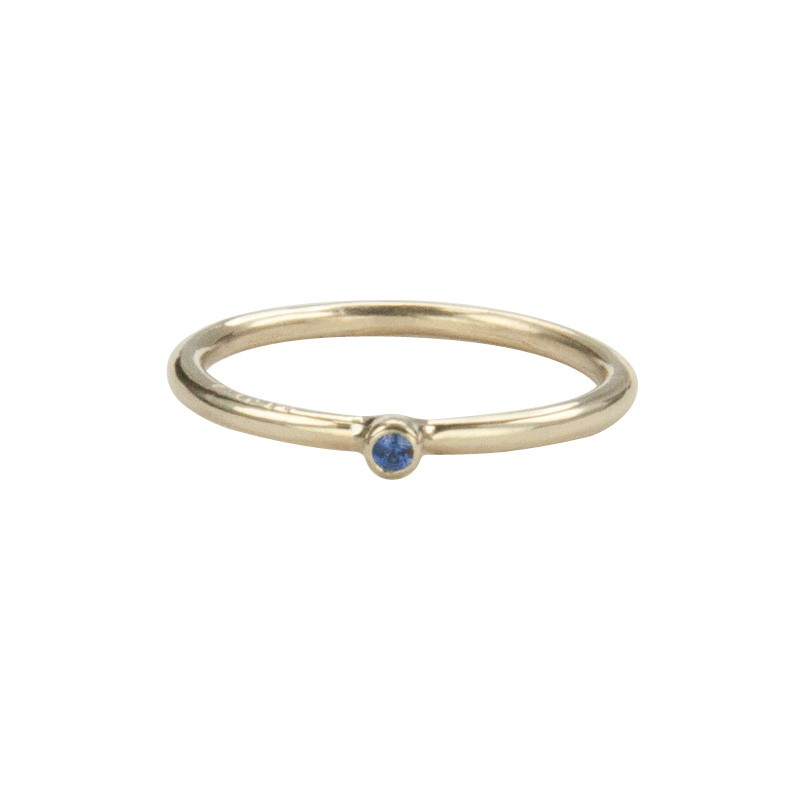 Super Skinny Yellow Gold Ring with a Blue Sapphire