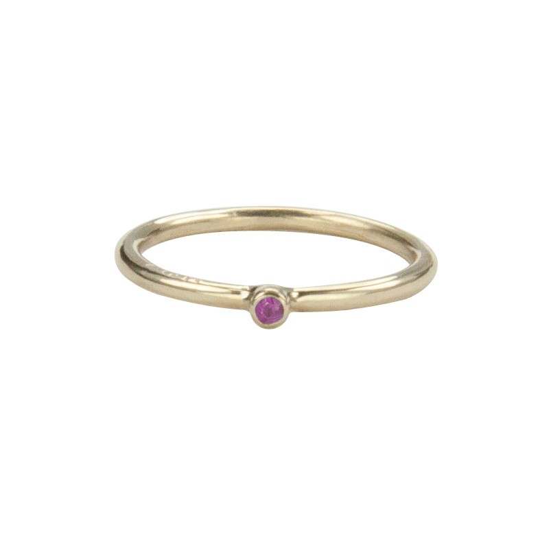 Super Skinny Yellow Gold Ring with a Pink Sapphire