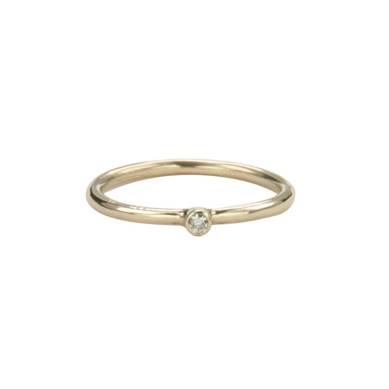 Super Skinny Yellow Gold Ring with a White Diamond