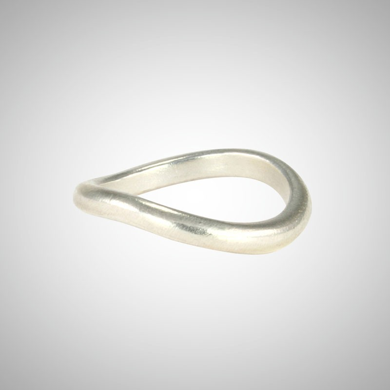 Curved Silver Stacking Ring