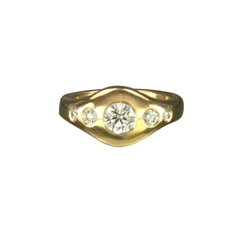Custom Yellow Gold Engagement Ring with 5 White Diamonds