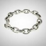 ndu Silver Oval Link Motif Bracelet