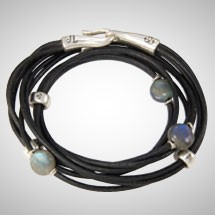 Silver, Labradorite and Black Leather Triple Wrap